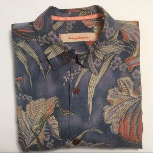 Tommy Bahama blue Hawaiian silk shirt size S